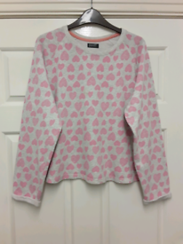 F&F JUMPER SIZE 12/14 GREY WITH PINK HEARTS