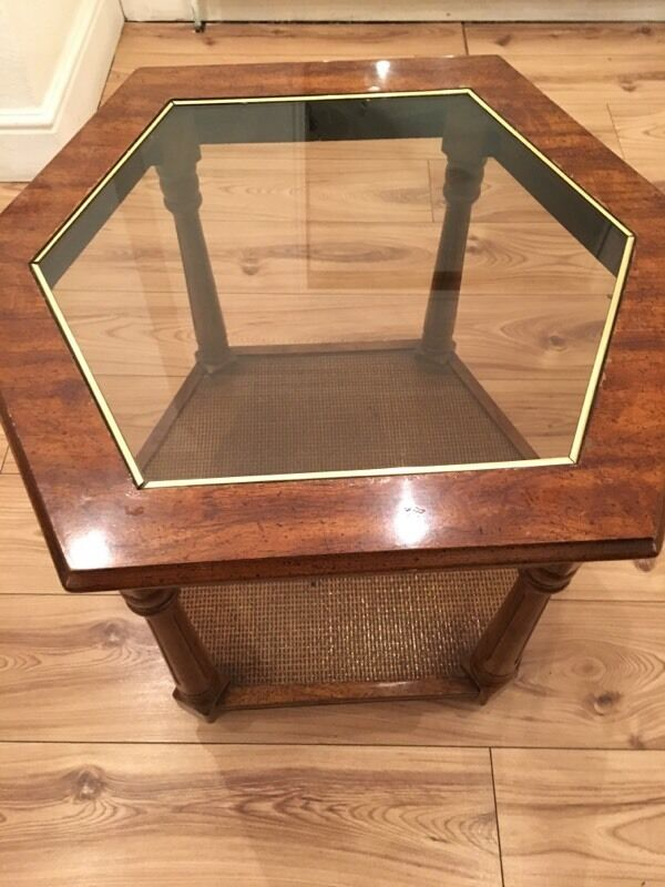 Lovely Vintage Gl Top Wooden Hexagon Coffee Table In Chingford