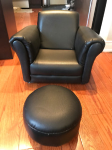 TODDLER LOUNGE CHAIR AND STOOL, CHOCOLATE BROWN $145