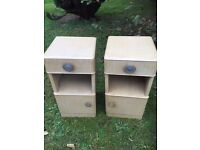 Pair of old retro bedside cabinets