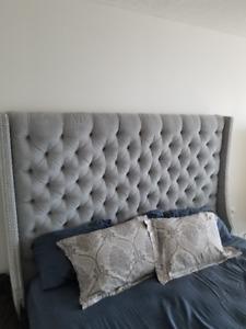 Custom ELTE King-sized Upholstered Headboard + Frame