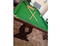 Dining table/pool table and six chairs