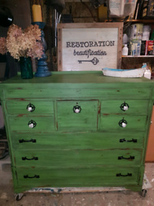 RESTORED PAINTED GREEN SIDEBOARD/HUTCH