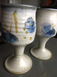 Handcrafted clay goblets