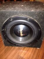 "The 10"" pioneer premiere sub woofer and enclosed"