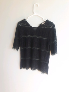 Size Small Black Lace Top- $10
