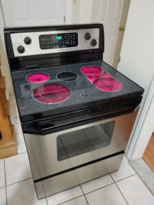 """Whirlpool stainless steel 30"""" electric glass top range oven"""