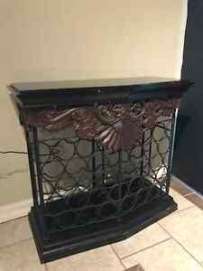 Wine rack table with black granite top