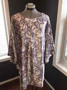 Floral Purple and Grey Silk Dress