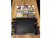 Playstation 3 Slimline 160Gb Bundle 6 Top Games 2 Dualshock Pads All Leads Excellent Condition