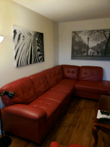 Red L shape couch $700 o.b.o