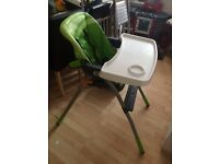 Chicco high chair, 3 recline, ex con