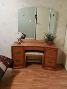 Antique Dresser with Mirror and stool