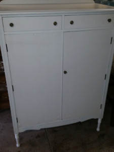 Painted white wardrobe/highboy dresser