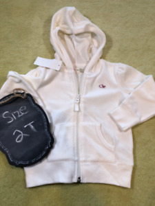 Brand New Velour Ivory off white Girls Hoodie Jacket - 2T NWT
