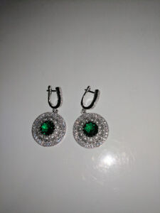 Green Round Swarovski Diamond Earrings