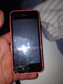 iPhone 5c unlocked smashed 8gb pink