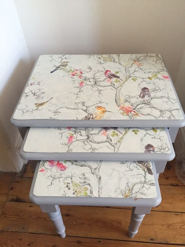 Nest Of 3 Tables Painted In Annie Sloan And A Decoupage