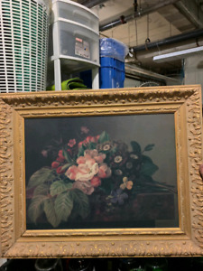 Vintage flowers painting with frame