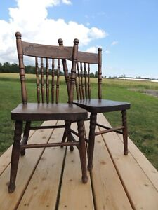 Vintage wooden childs school chair & early1900's card table