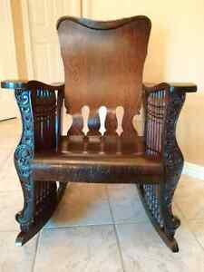 Antique Oak - 7 Spindle Rocking Chair Kitchener / Waterloo Kitchener Area image 1