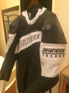 UNUSED Black Leather Motorcycle Suit  with Back Protector