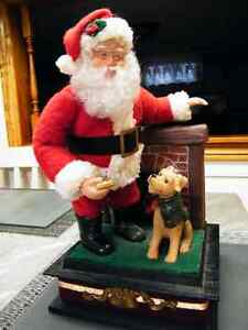 Christmas musical Santa Claus with dog