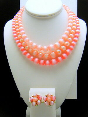 Vintage Lisner Necklace Earring Set Shades of Pink Lucite Moonglow Beads on Lookza