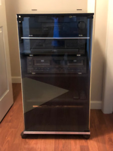 Stereo Cabinet with receiver, cd-player, tape deck, speakers
