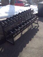 dumbbells 660lbs avec rack