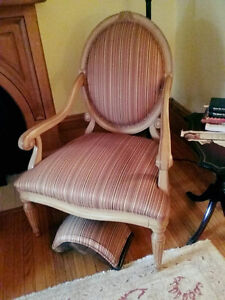 Two (2) Antique Striped Chairs