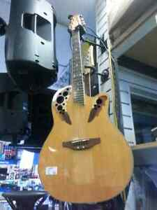 Ovation electric acoustic guitar. Busters has used instruments