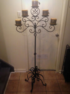 Candles and Decorative Wrought Iron Stand