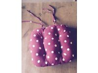 Four brand new Red polka dot seat cushions