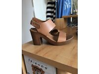 Office Women's Tan Leather Heeled Sandals