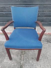 Vintage retro Danish mid century wooden blue armchair lounge chair
