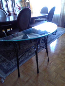 Bombay Glass and metal console table