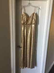 Bridesmaid Dress Long Gold Sequin