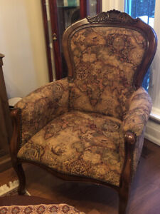 Pair of Geography-print Arm Chairs