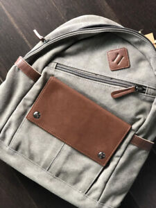 Earth Grey Cotton/Bamboo Durable Backpack, Made in Chile
