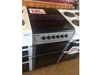 GLASS TOP COOKER WITH WARRANTY SILVER BLACK DOUBLE OVEN £130 PAT TESTED