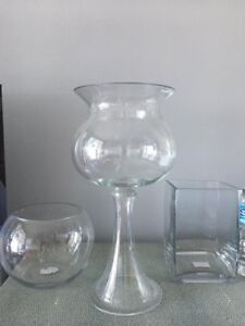3 Clear Vases