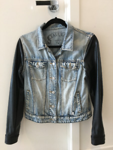 Aritzia Jean Jacket with leather sleeves