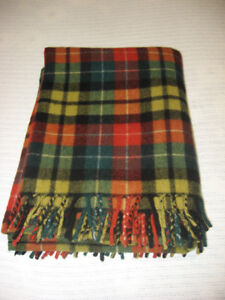 Vintage Pure Wool Buchanan Tartan Throw / Blanket