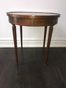 Antique solid wood round side table circa 1940s
