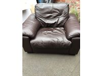 Brown leather armchair used but free