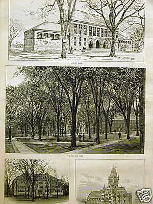 HARVARD UNIVERSITY AUSTIN SEVER MEMORIAL HALL 1885 Art Print Matted