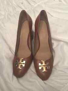 Authentic Tory Burch beige wedge shoe
