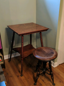 Antique Walnut Parlour Table & Stool - Glass Feet