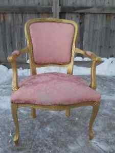 FRENCH PROVINCIAL ANTIQUE CHAIR - PINK AND GOLD